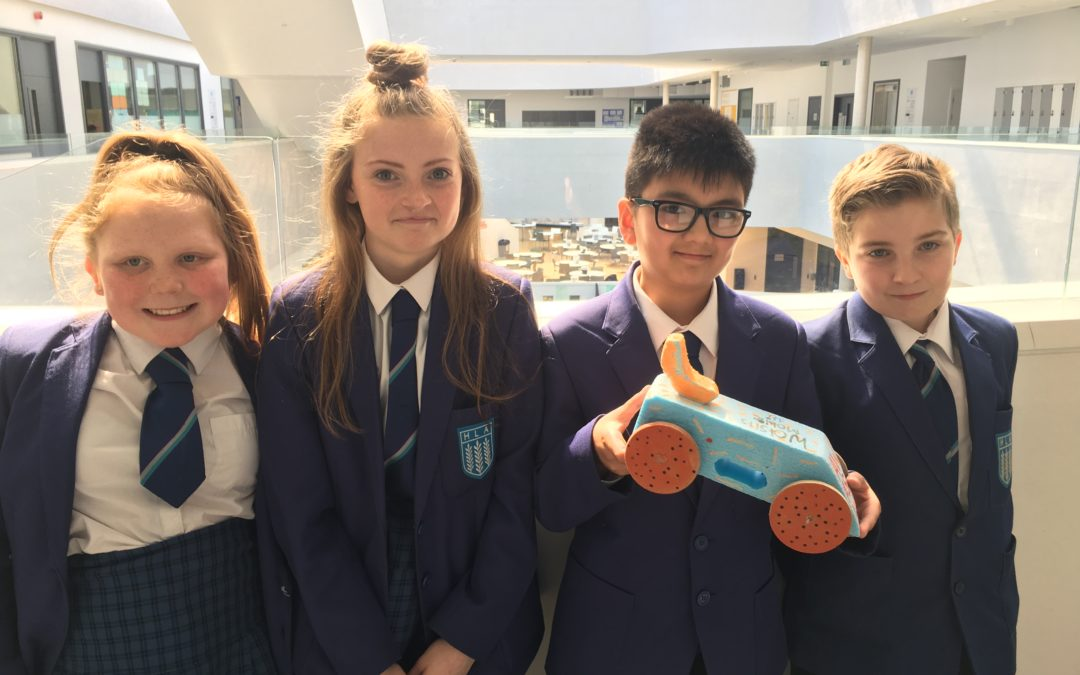Pupils prepare to Race For The Line in rocket car regional championships